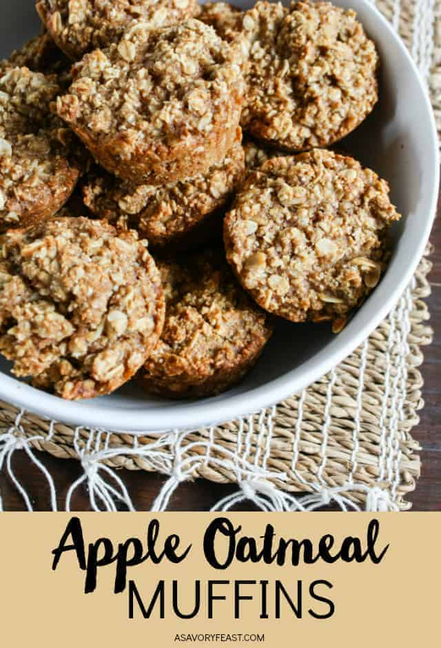 Start your day with these healthy and hearty Apple Oatmeal Muffins. So easy to make and so good! Made with oats instead of flour and sweetened with applesauce and agave nectar.